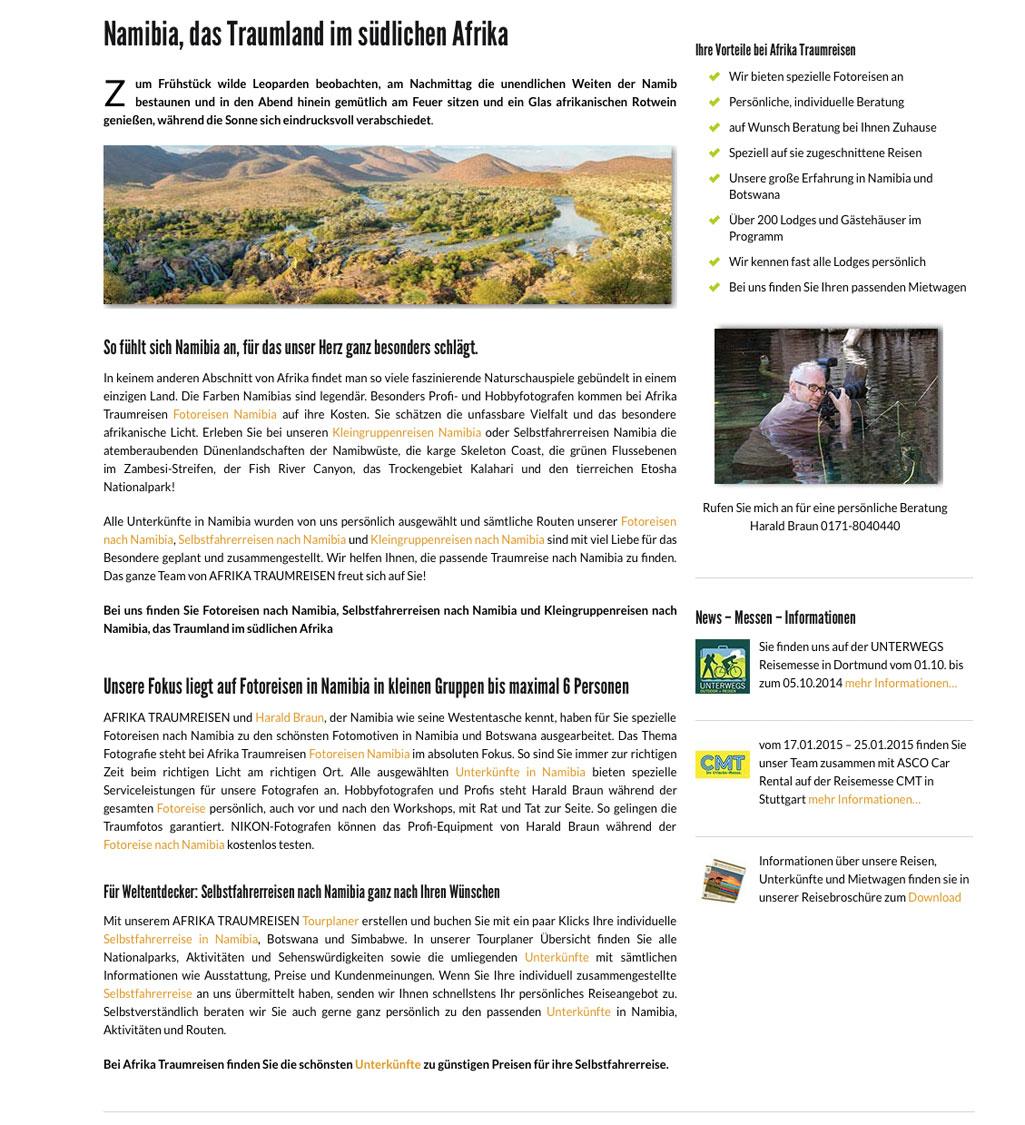 Text Homepage Reiseveranstalter