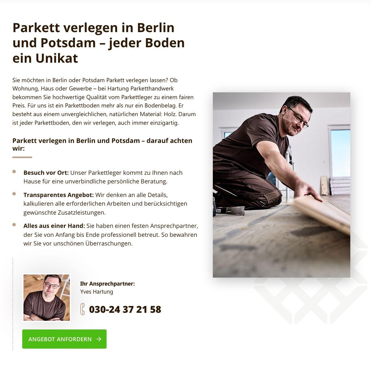 Webseite Text für Parkettleger